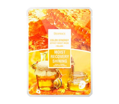 DEOPROCE Color Synergy Effect Sheet Mask Yellow Восстанавливающая тканевая маска для придания сияния коже лица, 20гр.